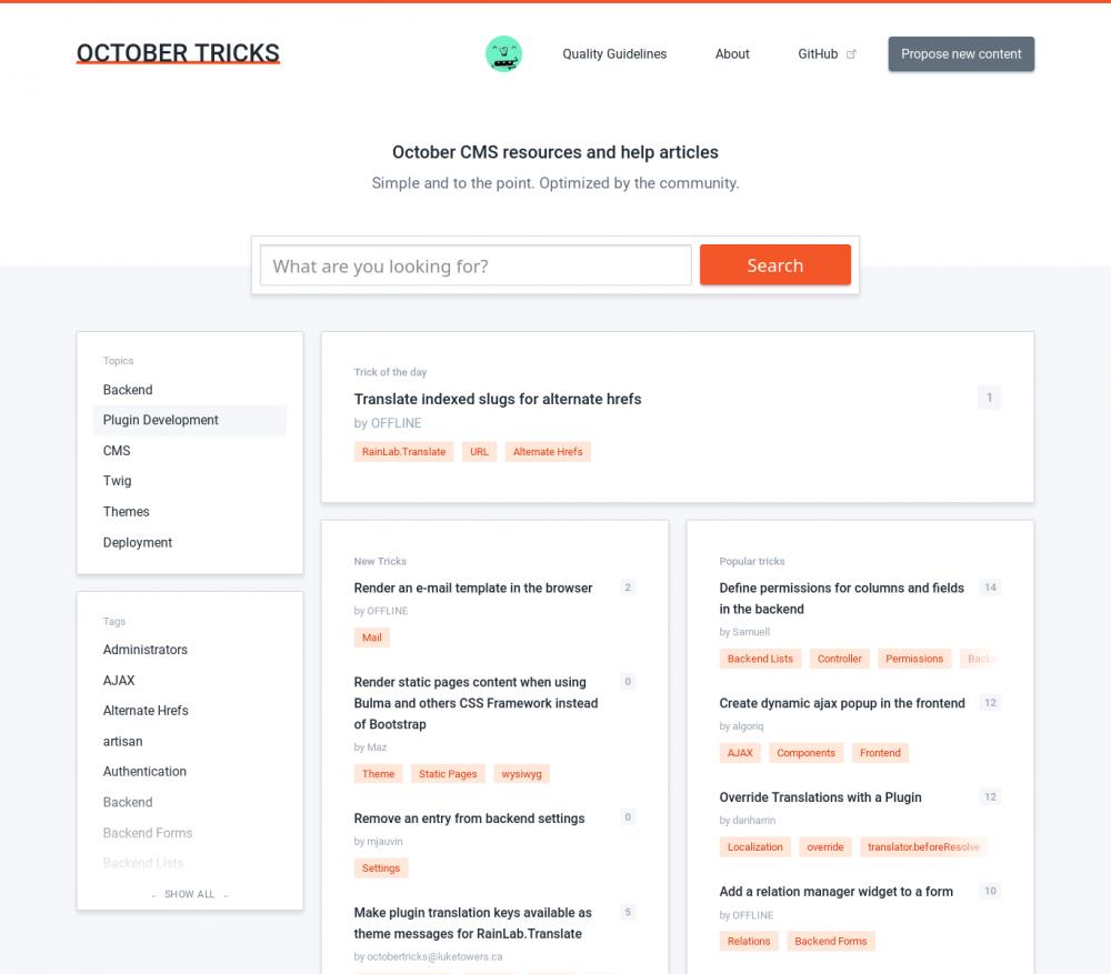 Homepage of October Tricks