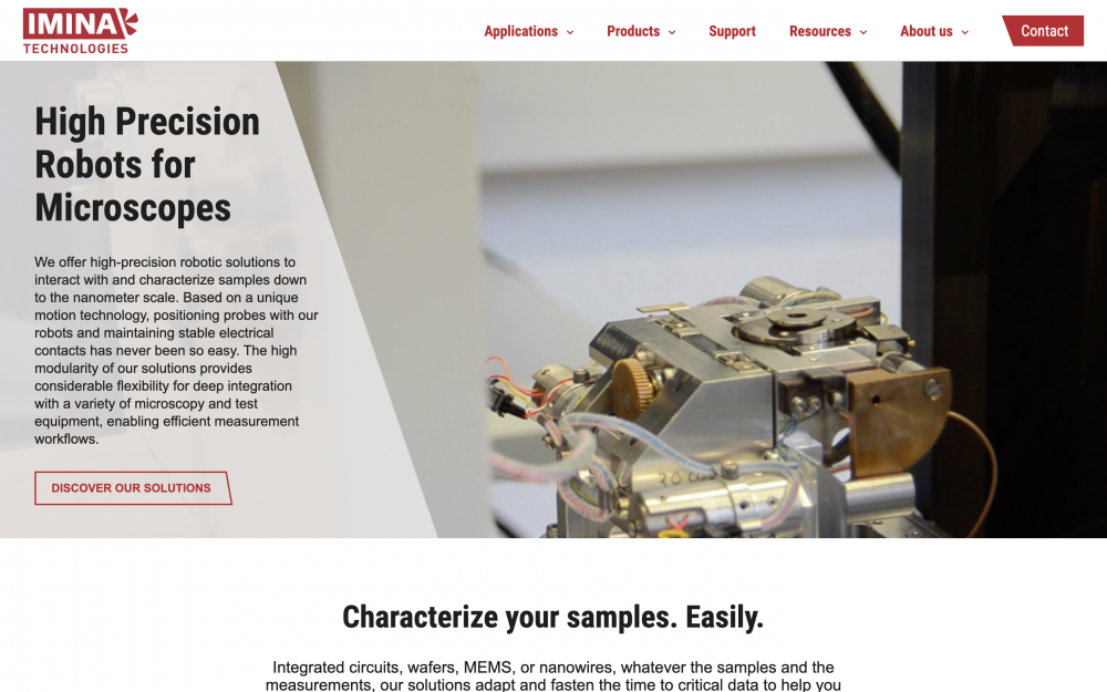 Homepage, introduction text and image of a precision robot