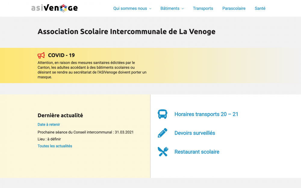 Homepage showing types of informations